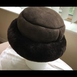 Shearling Brown Suede Cloche with velvet lamb brim